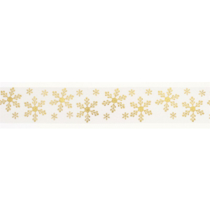 Culpitt Patterned Ribbon - Snowflakes - Gold on Ivory - 36mm x 20m - Full Roll