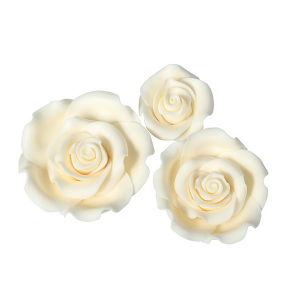 Culpitt SugarSoft Roses - Ivory - Assorted Sizes (Box of 12)