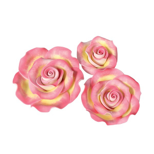 Culpitt SugarSoft Roses - Marbled Pink & Gold - Assorted Sizes (Box of 12)