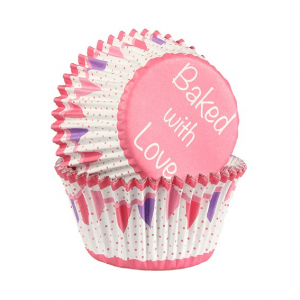 Baked With Love Foil Lined Baking Cases - Bunting - Pink (Pack of 25)