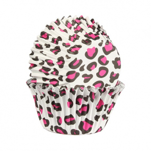Baked With Love Foil Lined Baking Cases - Leopard Print - Pink (Pack of 25)