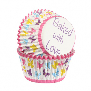 Baked With Love Foil Lined Baking Cases - Butterfly - Pink (Pack of 25)
