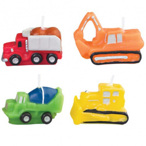 Wilton Shaped Candles - Construction Vehicles (Pack of 4)