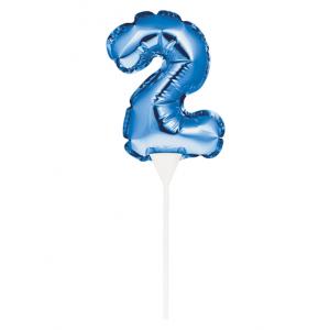 Unique Foil Balloon Cake Pick - Number 2 - Blue