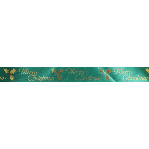 Culpitt Patterned Ribbon - Merry Christmas with Holly - Green - 24mm x 20m - Full Roll