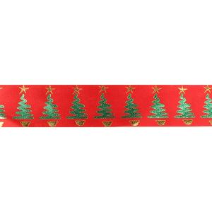 Culpitt Patterned Ribbon - Modern Christmas Trees - Red - 36mm x 20m - Full Roll