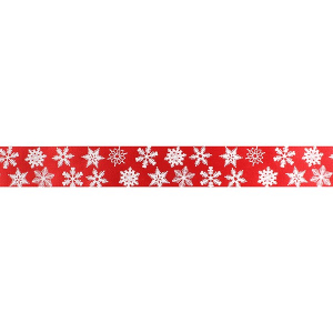 Culpitt Patterned Ribbon - Snowflakes - White on Red - 24mm x 20m - Full Roll