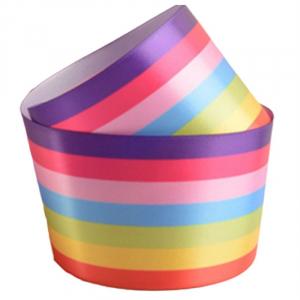 Culpitt Single Faced Polyester Ribbon - 7 Stripe Rainbow - 38mm x 20m