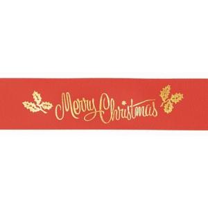 Culpitt Patterned Ribbon - Merry Christmas - Red - 24mm x 20m - Full Roll