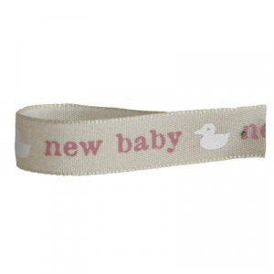 Bertie's Bows Patterned Ribbon - New Baby with Duck - Pink - 15mm