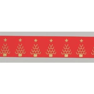 Culpitt Patterned Ribbon - Christmas Trees - Red - 36mm x 20m - Full Roll