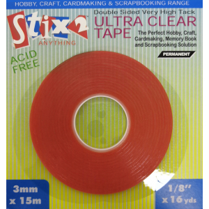 Stix2 Ultra Clear Double Sided High Tack Tape - 3mm x 15m