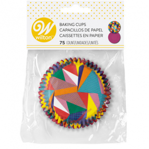 Wilton Baking Cases - Pop Art Triangles & Solid Purple (Pack of 75)