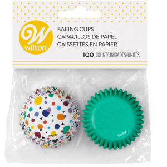 Wilton Mini Baking Cases - Geometric Print & Solid Green (Pack of 100)