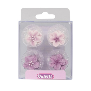 Culpitt Sugar Pipings - Brushed Flowers - Lilac (Pack of 12)