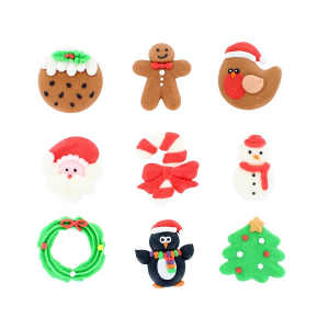 Culpitt Handmade Sugar Decorations - Christmas Collection (Pack of 90)