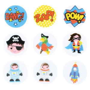 Culpitt Printed Sugar Edible Toppers - Adventure Collection - 38mm (Pack of 144)