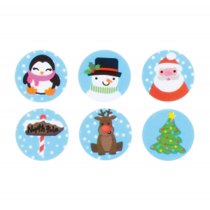 Culpitt Printed Sugar Edible Toppers - Christmas Collection - 38mm (Pack of 144)