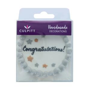 """Culpitt Sugar Decoration - """"Congratulations"""" Plaque"""