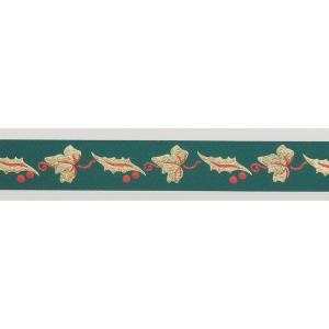 Culpitt Patterned Ribbon - Holly & Ivy - Green