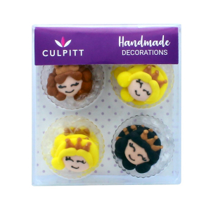 Culpitt Handmade Sugar Decorations - Princess Faces (Pack of 12)