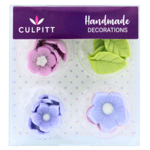 Culpitt Handmade Sugar Decorations - Flowers & Leaves - Lilac (Pack of 16)