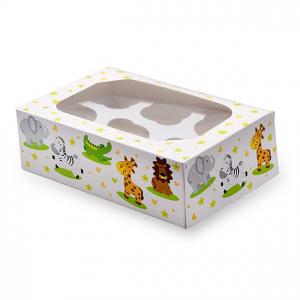 Club Green Cupcake Box - 6 Cavity - Jungle Animals (Pack of 2)