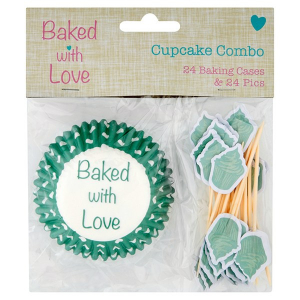 Baked With Love Cupcake Cases and Pics (Pack of 24)