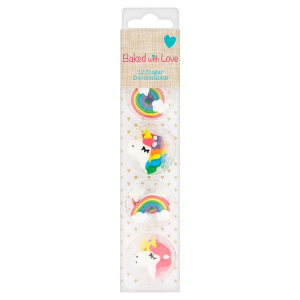 Baked With Love Sugar Decorations - Unicorns & Rainbows (Pack of 12)
