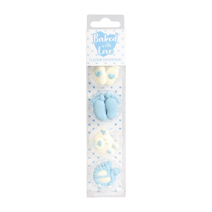 Baked With Love Sugar Decorations - Baby - Blue (Pack of 13)