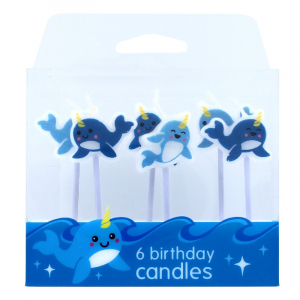 Baked With Love Birthday Candles - Narwhal (Pack of 6)