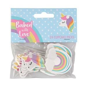 Baked With Love Cupcake Picks - Unicorn & Rainbow (Pack of 24)