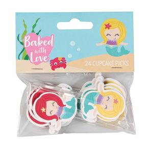 Baked With Love Cupcake Picks - Mermaid (Pack of 24)