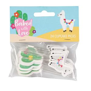 Baked With Love Cupcake Picks - Llama & Cactus (Pack of 24)