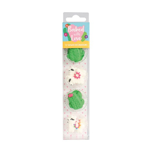 Baked With Love Sugar Decorations - Llama & Cactus (Pack of 12)