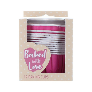 Baked With Love Baking Cups - Hot Pink (Pack of 12)
