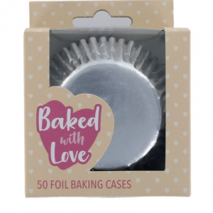 Baked With Love Foil Baking Cases - Silver (Pack of 50)