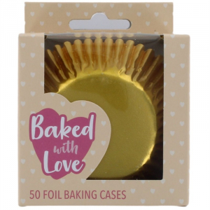 Baked With Love Foil Baking Cases - Gold (Pack of 50)