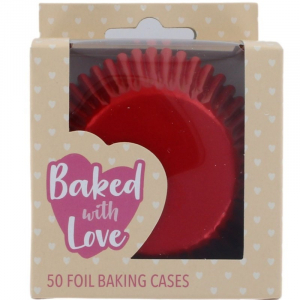 Baked With Love Foil Baking Cases - Red (Pack of 50)