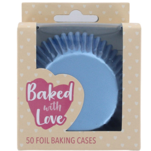 Baked With Love Foil Baking Cases - Ice Blue (Pack of 50)