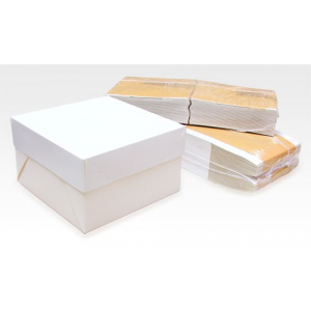 "Cake Box Base & Lid - White - 09"" - Bulk Pack (50)"
