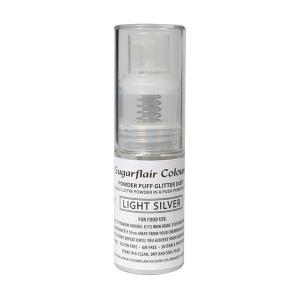 Sugarflair Powder Puff Glitter Pump Spray - Light Silver (10g)