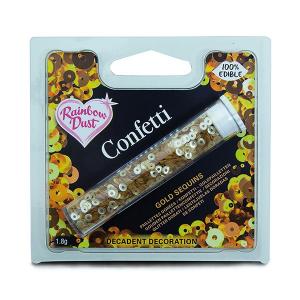 Rainbow Dust Edible Confetti Sequins - Gold