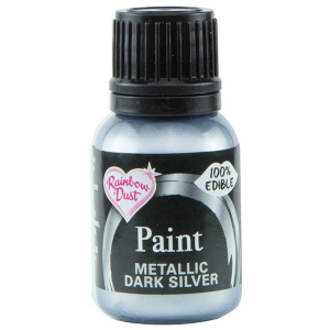 Rainbow Metallic Food Paint - Dark Silver (25ml)