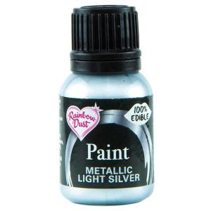 Rainbow Metallic Food Paint - Light Silver (25ml)