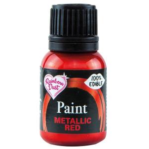Rainbow Metallic Food Paint - Red (25ml)