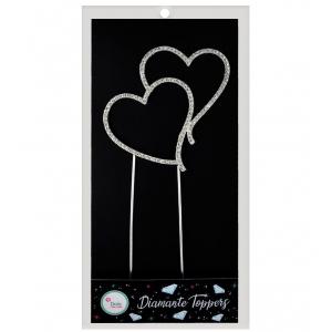 Doric Diamante Topper - Double Hearts - Silver
