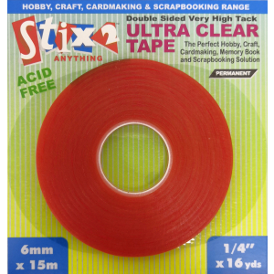 Stix2 Ultra Clear Double Sided High Tack Tape - 6mm x 15m