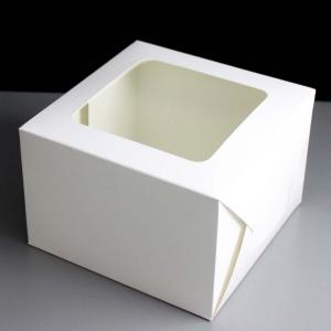 """Parcel End Window Cake Box - White - 10"""" x 5"""""""