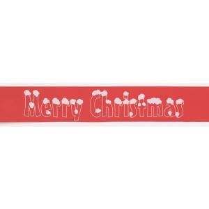 Culpitt Patterned Ribbon - Merry Christmas Snowcaps - Red - 38mm x 20m - Full Roll